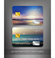 template credit cards with seascape vector image vector image