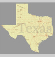 texas accurate exact detailed state map vector image
