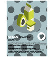 vegan life color isometric poster vector image