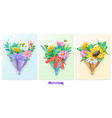 wildflowers bouquet plasticine art 3d icon set vector image vector image
