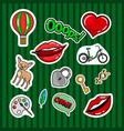 colored quirky badges set vector image