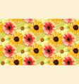 vintage orange dahlia yellow sunflower repeated vector image