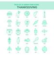 25 green thanksgiving icon set vector image