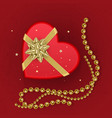 a realistic red gift box with shape of heart vector image