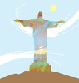 Abstract design with statue over light blue backgr vector image vector image