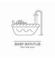 Baby bath line icon vector image vector image