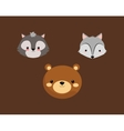 bear with fox and skunk icons image vector image vector image