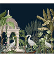 border with ancient arbor and herons in jungle vector image vector image