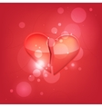 Broken heart isolated on red background vector image vector image