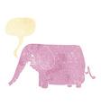 cartoon funny elephant with speech bubble vector image vector image