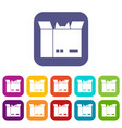 cat in a cardboard box icons set flat vector image vector image