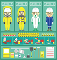 Chemical Spill Response With Chemical Suit and Kit vector image