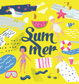 childish summer beach vacation design with kids vector image vector image