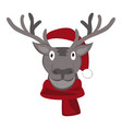 christmas deer in santa claus hat vector image