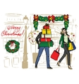 Christmas shopping of family vector image vector image