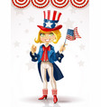 cute blond girl in a suit uncle sam vector image