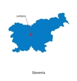 Detailed map of Slovenia and capital city vector image vector image