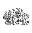 doodle outline front view of big mining truck vector image vector image