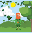 dwarf man rain clovers outdoors vector image