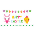 easter banner with a bunny and a chick vector image vector image