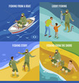 fishermen isometric concept vector image