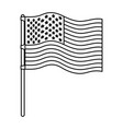 flag united states of america in flagpole wave vector image vector image