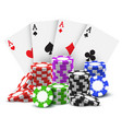 gambling cards and stack or heap poker chips vector image vector image