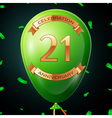 Green balloon with golden inscription twenty one vector image vector image