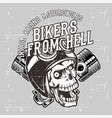 grunge style skull wearing helmet retro vector image