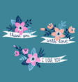 hand drawn ribbon with flowers and stylish phrase vector image vector image