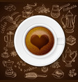 Hand drawn vintage coffee set with cup of coffee vector image