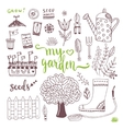 Hand sketch set of Garden doodle elements - seed vector image vector image