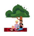 happy couple young people on a picnic couple vector image vector image