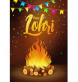 happy lohri banner greeting card punjabi vector image