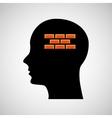 head silhouette black icon bricks construction vector image
