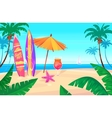 holidays sea view palms and ship in vector image