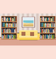 interior with a poster sofa with pillows and book vector image