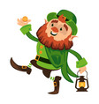 leprechaun cartoon character or funny green dwarf vector image vector image