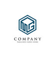 letter mg logo with 3d square logo vector image vector image