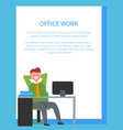 office work with text on white vector image vector image