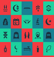 ramadan icons set with calendar namaz room wudhu vector image vector image