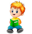 schoolboy cartoon reading a book vector image