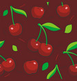 seamless cherry pattern vector image vector image