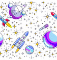 seamless space background with rockets planets vector image vector image