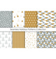 set of christmas seamless patterns collection vector image vector image