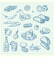 sketched mexican food elements set vector image vector image