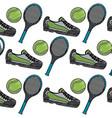 sport tennis ball racket sneaker seamless pattern vector image