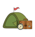 suitcase travel with tent and compass guide vector image vector image