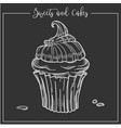 sweets and cakes cupcake with creamy top and drop vector image vector image
