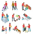 volunteers isometric set people caring homeless vector image vector image
